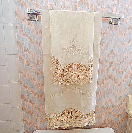 cluny lace towel, guest towels, lace towels