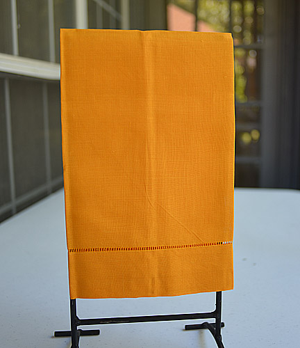 Apricot colored guest towel