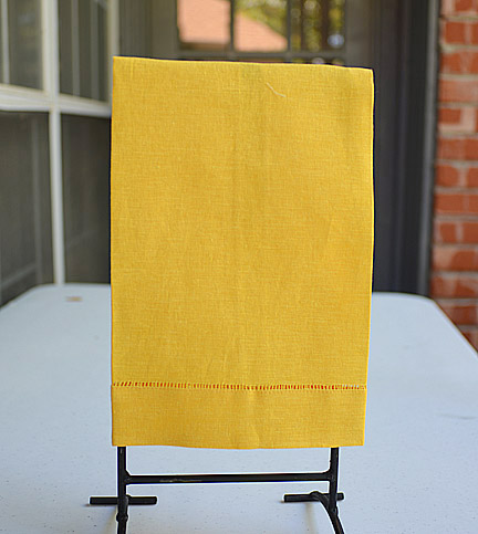 Gold Yellow hand towels, gold yellow guest towel, gold yellow hemstitch towels