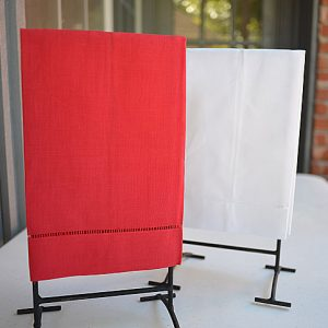 red hand towel, white hand towel, hand towel, hemstitch towel