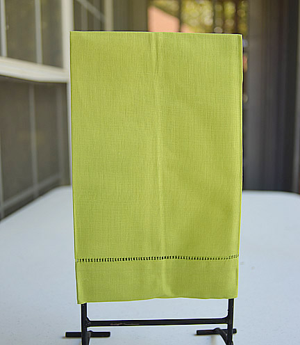Green hand towels, Bright Green hand towels, green guest towel, green hemstitch towel
