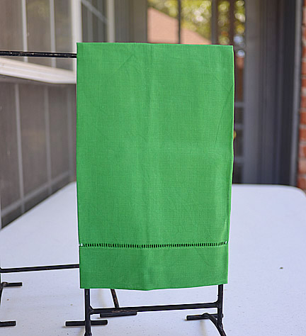 Green color hand towel, green guest towel, xmas green hand towel, xmas green guest towel