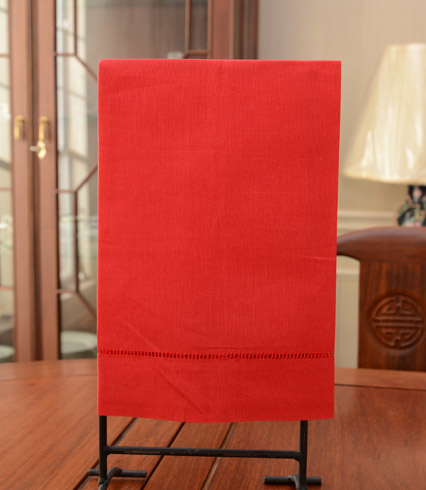 red hand towel, red guest towel,red hemstitch towels