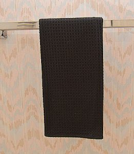 Black colored waffle weaves towel