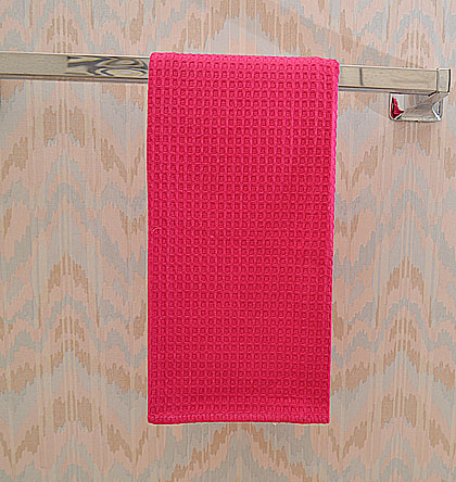 Pink Peacock colored waffle weaves kitchen towel.
