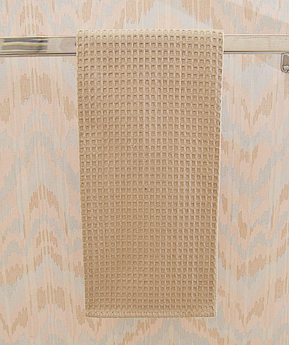 Marzipan colored waffle weave towel