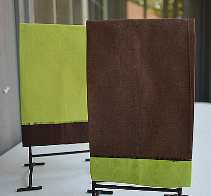 festive multi colored hand towel Brown & Lime Punch