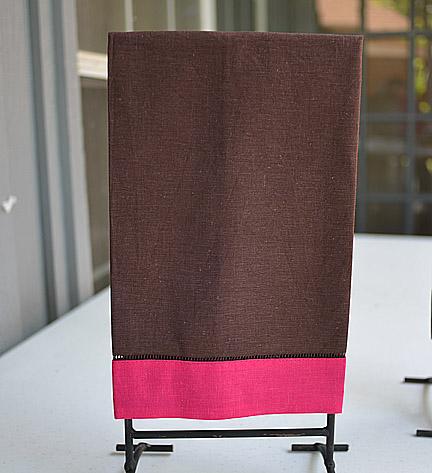 festive multiHand Towel, colored chocolate & pink peacock