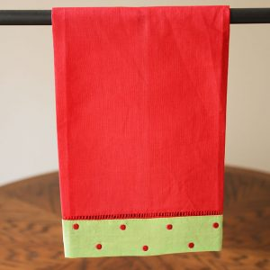 Festive Red Green Guest Towel Red Polka Dots